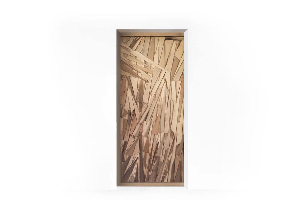 Porta in legno di rovere a fasce cuneiformi